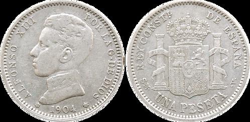 1 PESETA, 1904 (*19, *04). SMV. MBC