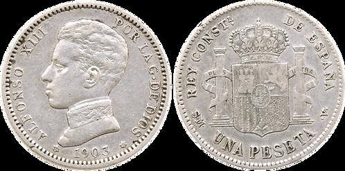 1 PESETA, 1903 (*19, *_3). SMV. MBC