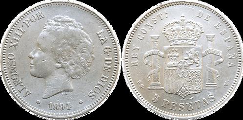 5 PESETAS, 1894, (*18, *__). PGV (MBC+/EBC-)