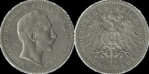 ALEMANIA, PRUSIA, 5 MARCOS, 1907  (EBC+/SC-)