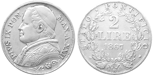 VATICANO, 2 LIRAS, 1867. (EBC)