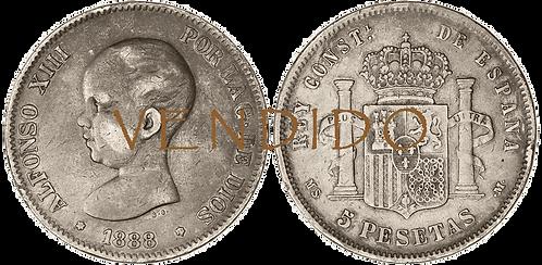5 PESETAS, 1888 (*18, *88). MS M. (MBC)