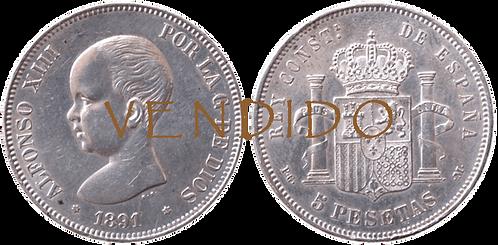 5 PESETAS, 1891, (*18, *91). PGM (EBC+)