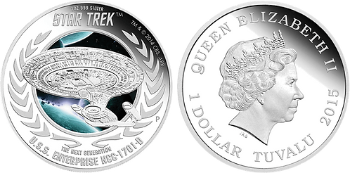 TUVALU, 1 DOLAR, 2015. STAR TREK. PROOF. COLOREADA.