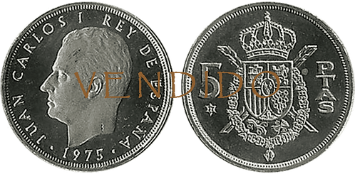 5 PESETAS, 1975 (*77). PROOF
