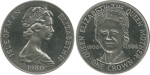 ISLA DE MAN, 1 CROWN, 1980. PROOF