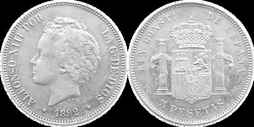 5 PESETAS, 1892 (*18, *92). PGM. (EBC-)