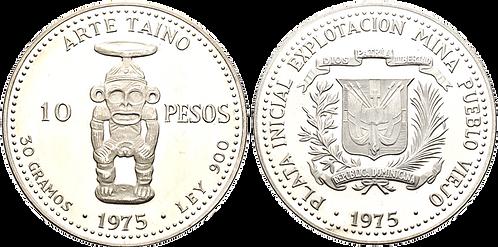 REPÚBLICA DOMINICANA, 10 PESOS, 1975. PROOF