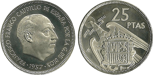25 PESETAS, 1957 (*72). PROOF