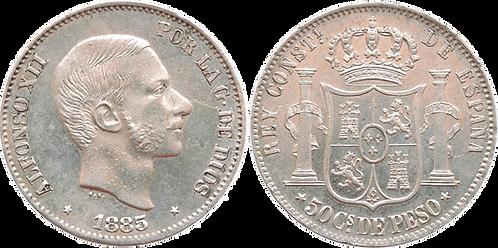 50 CTS. DE PESO. 1885. FILIPINAS. (EBC+/SC-)