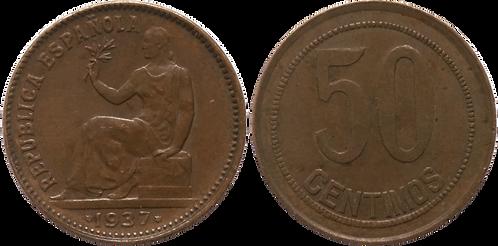 50 CTS. 1937. (**3,*6). MBC+ (Doble estr. izq. y ptos. redondos sobre cuadrados)