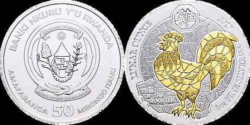 RUANDA, 50 FRANCOS. 2017. Partial Gold Plated. PROOF