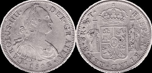 CARLOS IV. 1803_MEJICO, FT. 8 reales. MBC+/EBC-. Resellos O.