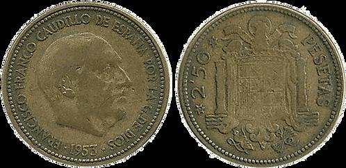 2,50 PESETAS, 1953 (*19, *54). MBC-