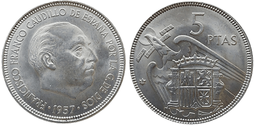 5 PESETAS, 1957 (*64). SC