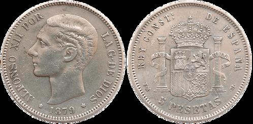 5 PESETAS, 1879. EM M. (*_8, *__). (MBC+)
