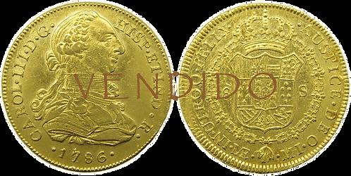 CARLOS III. 1786_LIMA, MI. 8 escudos. EBC-