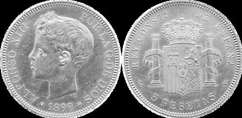 5 PESETAS, 1899 (*18, *99). SGV. SC-