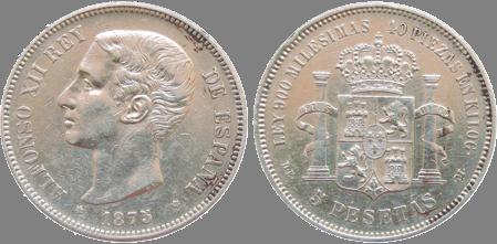 5 PESETAS, 1875. (*_8, *75). (EBC-)