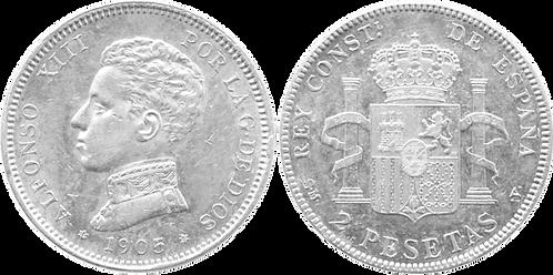 2 PESETAS, 1905. (*19, *05). SMV. SC-