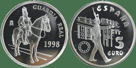 5 EURO, 1998. GUARDIA REAL. PROOF