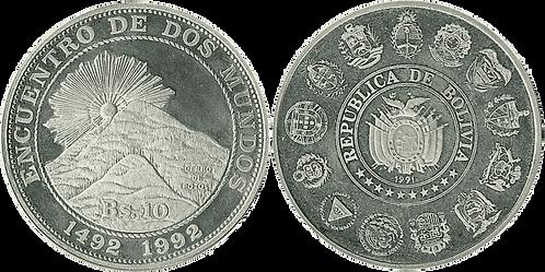 BOLIVIA, 10 BOLIVIANOS. 1991. (PROOF)