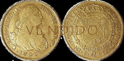 CARLOS IV. 1799_POPAYAN, JF. 8 escudos. MBC+/EBC-