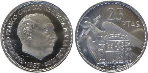 25 PESETAS, 1957 (*74). PROOF