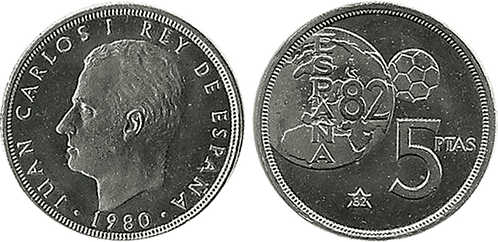 5 PESETAS, 1980 (*82). PROOF