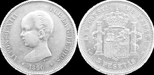 5 PESETAS, 1890, (*18, *90). PGM (MBC+)