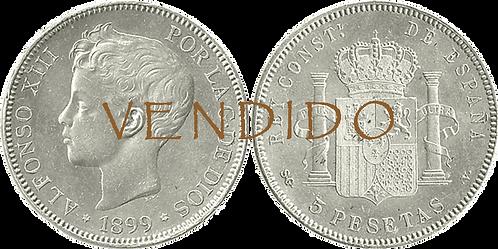 5 PESETAS, 1899 (*18, *99). SG V. EBC
