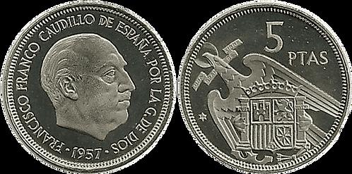 5 PESETAS, 1957 (*72). PROOF