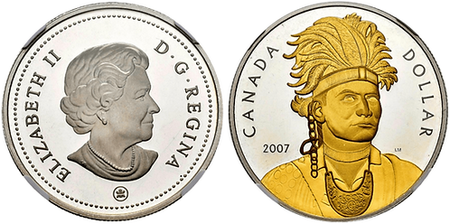 CANADA, 1 DÓLAR. 2007. Partial gold plated. (PROOF)