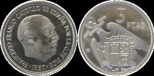 5 PESETAS, 1957 (*74). PROOF