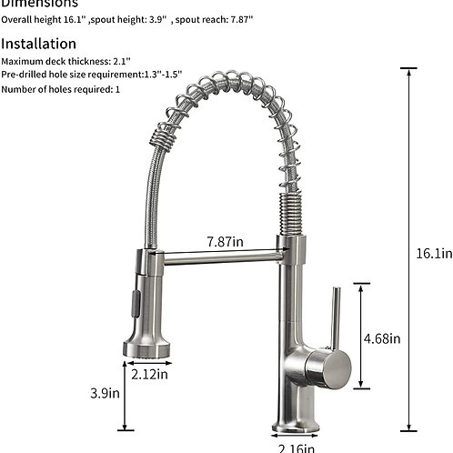 GIMILI Kitchen Faucet with Pull Down Sprayer Commercial Single Handle Lever