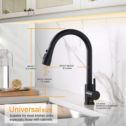 Sink Faucet, Black Kitchen Faucet with Pull Down Sprayer VFauosit Commercial Sta
