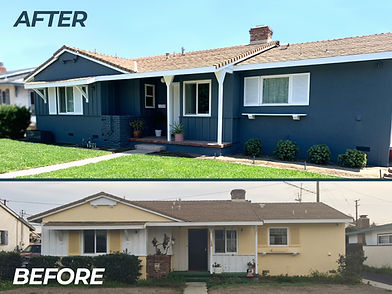 Home Exterior Paint before and after blue