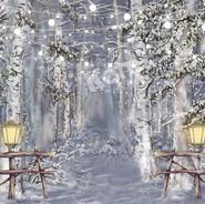 thème lanternes devant forêt