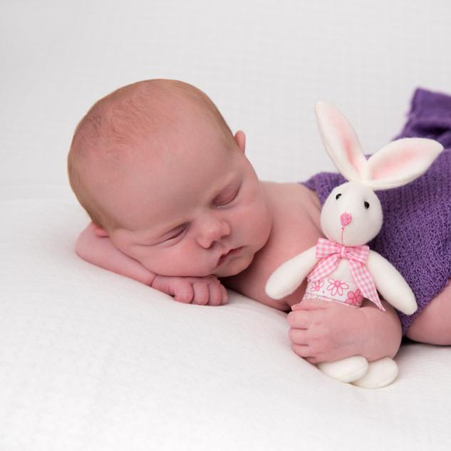 nouveau-né de 2 semaines tient un petit lapin
