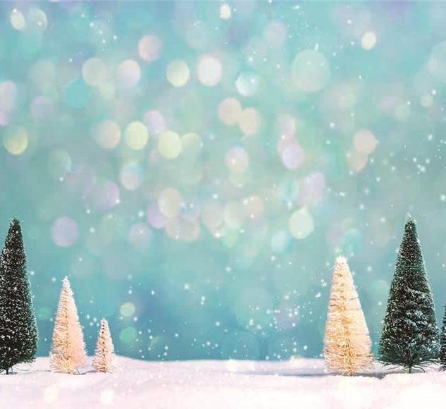 fond de scène thème hiver avec sapins