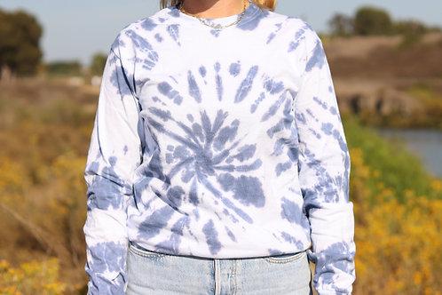 Unisex Denim Spiral Long Sleeve T-shirt