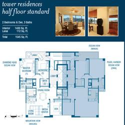 2 Bedrooms 4 Bath half floor