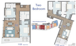 Deluxe - 2 Bedroom floor plans