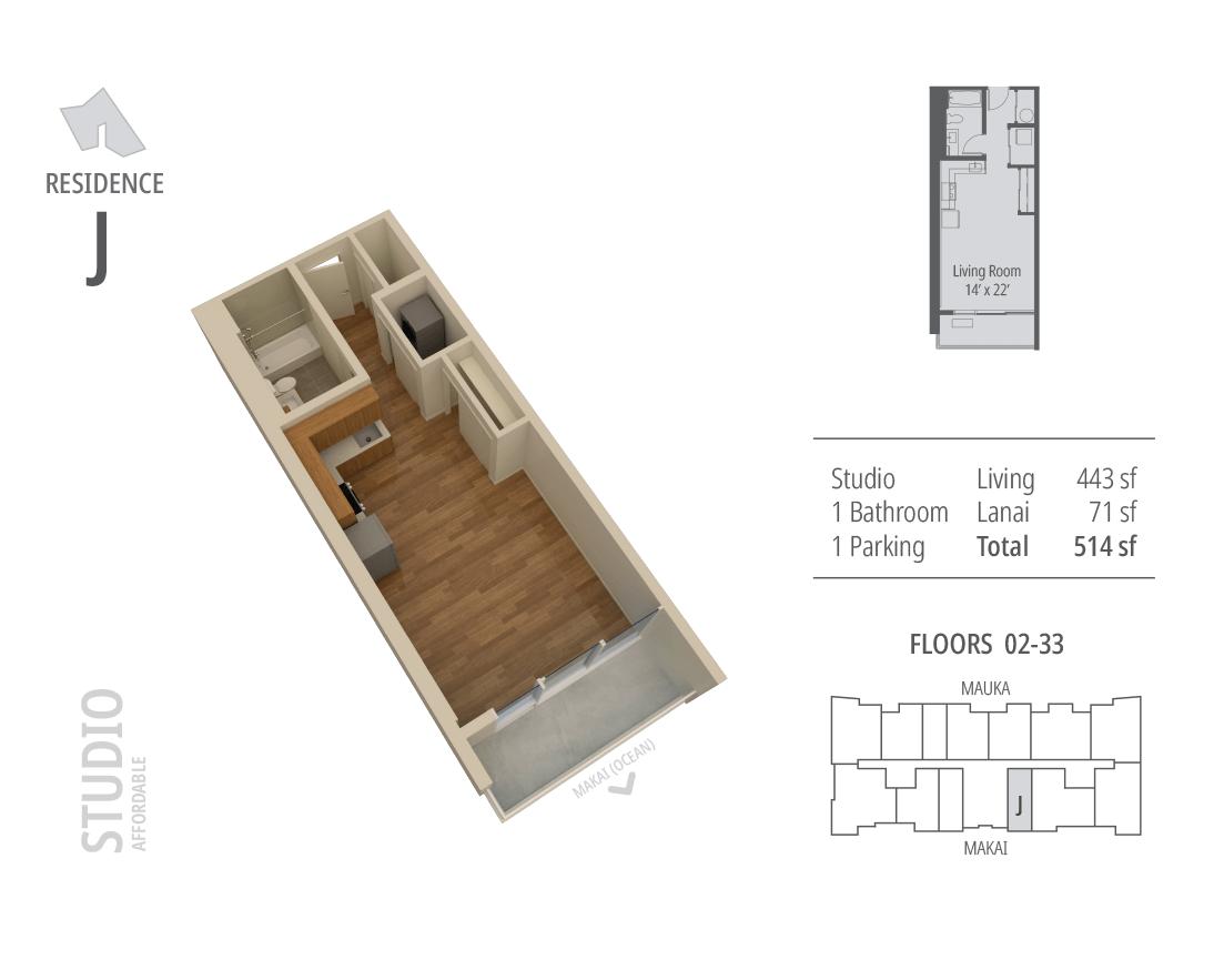 Studio, 1 bathroom