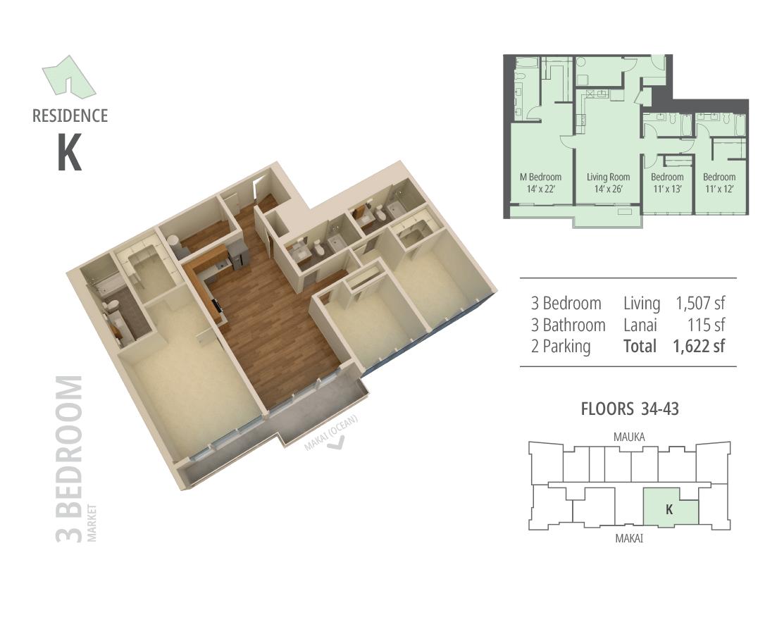 3 bedroom, 3 bathroom