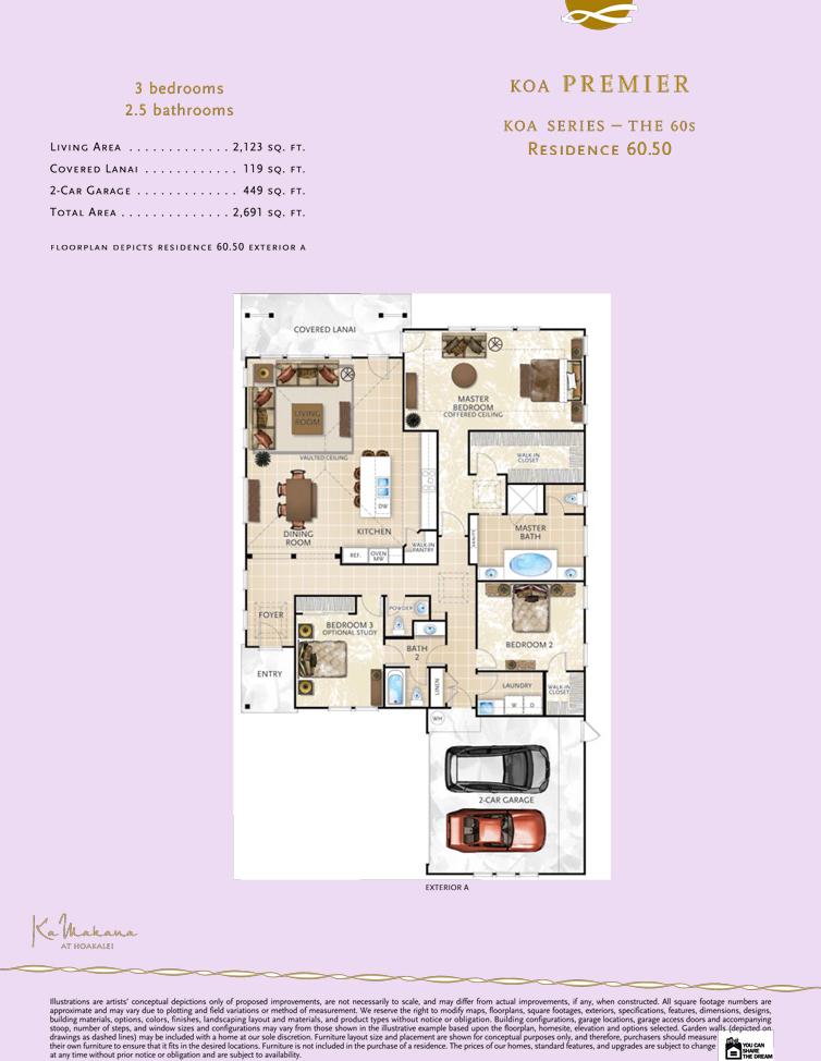 Ka Makana floor plan 60.50