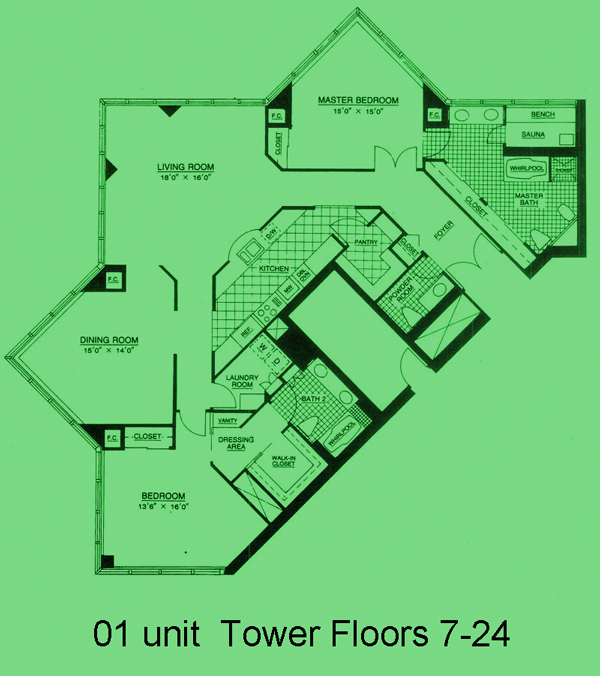 Tower Residence 01 unit, Tower Floors 7-24