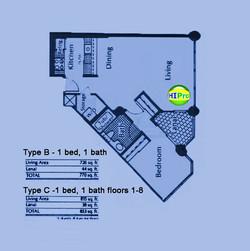 Honolulu Tower floorplan B-C