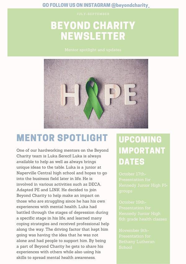 Beyond charity newsletter july-september