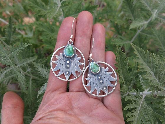 Green Turquoise Lotus Earrings
